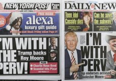 The New York Post, left, and New York Daily News are arranged for a photo, Wednesday, Nov. 22, 2017. The papers will often tackle the same topics on their front page, but only when the stars align do their colorful headline writers get the same idea. Both were reporting Wednesday on President Donald Trump's backing of Republican Alabama Senate candidate Roy Moore, who is accused of molesting a 14-year-old girl decades ago. Moore denies the charge. (AP Photo/Mark Lennihan)