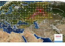 This photo provided on Friday Nov. 10, 2017 by the INRS, Institute for Radiological Protection and Nuclear Safety, shows a map of the detection of Ruthenium 106 in France and Europe. An apparent accident at a Russian facility is suspected of causing a recent spike in radioactivity in the air over much of Europe, according to a report by France's nuclear safety agency. (INRS via AP)