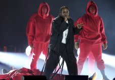 Kendrick Lamar, center, performs at the 60th annual Grammy Awards at Madison Square Garden on Sunday, Jan. 28, 2018, in New York. (Photo by Matt Sayles/Invision/AP)
