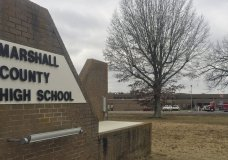 Authorities investigate the scene of fatal school shooting Tuesday, Jan 23, 2018, in Benton, Ky. Kentucky State Police said the suspect was apprehended by a Marshall County deputy. (AP Photo/Stephen Lance Dennee)