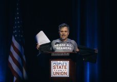 "Mark Ruffalo shows his T-shirt reading ""We are all dreamers"" during the ""People's State of the Union"" event at The Town Hall in New York, Monday, Jan. 29, 2018. (AP Photo/Andres Kudacki)"