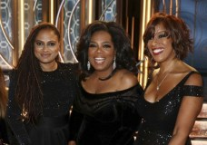 IMAGE DISTRIBUTED FOR LINDT CHOCOLATE - Ava DuVernay, left, Oprah Winfrey, center, and Gayle King are seen at the Golden Globes sponsored by Lindt Chocolate on Sunday, Jan. 7, 2018 in Beverly Hills, Calif. (Photo by Matt Sayles/Invision for Lindt Chocolate/AP Images)