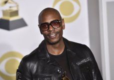"""FILE - In this Jan. 28, 2018 file photo, Dave Chappelle poses in the press room with the best comedy album award for """"The Age of Spin"""" and """"Deep in the Heart of Texas"""" at the 60th annual Grammy Awards at Madison Square Garden in New York. Chappelle, Sandra Bullock, Christopher Walken, Rita Moreno and Helen Mirren are among the latest slate of stars set to appear on the 90th Academy Awards. Oscar telecast producers revealed another round of celebrity presenters on Tuesday, Feb. 17, 2018, which also includes Jane Fonda, Matthew McConaughey, Lupita Nyong'o, Nicole Kidman, Jodie Foster, Ashley Judd and Eugenio Derbez.(Photo by Charles Sykes/Invision/AP, File)"""