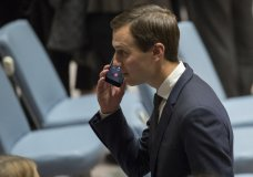 Jared Kushner takes a phone call before a Security Council meeting on the situation in Middle East, Tuesday, Feb. 20, 2018 at United Nations headquarters. (AP Photo/Mary Altaffer)