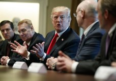 President Donald Trump speaks during a meeting with steel and aluminum executives in the Cabinet Room of the White House, Thursday, March 1, 2018, in Washington. From left, Roger Newport of AK Steel, John Ferriola of Nucor, Trump, Dave Burritt of U.S. Steel Corporation, and Tim Timkin of Timken Steel. (AP Photo/Evan Vucci)