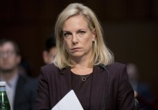 Homeland Security Secretary Kirstjen Nielsen appears before a Senate Intelligence Committee hearing on election security on Capitol Hill in Washington, Wednesday, March 21, 2018. (AP Photo/Andrew Harnik)