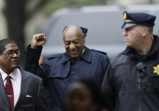 Bill Cosby gestures as he arrives for his sexual assault trial, Wednesday, April 25, 2018, at the Montgomery County Courthouse in Norristown, Pa. (AP Photo/Matt Slocum)