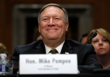 FILE - In this April 12, 2018, file photo Mike Pompeo smiles after his introduction before the Senate Foreign Relations Committee during a confirmation for him to become the next Secretary of State on Capitol Hill in Washington. (AP Photo/Jacquelyn Martin, File)