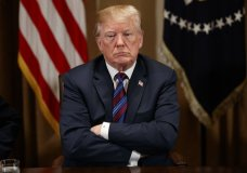President Donald Trump listens during a meeting with governors and lawmakers in the Cabinet Room of the White House, Thursday, April 12, 2018, in Washington. (AP Photo/Evan Vucci)