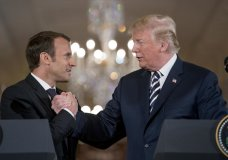 President Donald Trump and French President Emmanuel Macron shake hands during a joint news conference in the East Room of the White House in Washington, Tuesday, April 24, 2018. (AP Photo/Andrew Harnik)