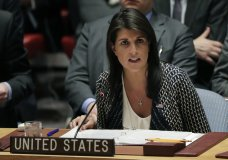 Nikki Haley, U.S. ambassador to the United Nations, speaks during a Security Council meeting, Friday, April 13, 2018, at United Nations headquarters. (AP Photo/Julie Jacobson)