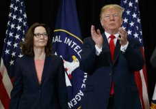 President Donald Trump applauds incoming Central Intelligence Agency director Gina Haspel during a swearing-in ceremony at CIA Headquarters, Monday, May 21, 2018, in Langley, Va. (AP Photo/Evan Vucci)