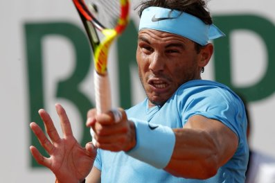 Spain's Rafael Nadal returns the ball to Argentina's Guido Pella during their second round match of the French Open tennis tournament at the Roland Garros stadium, Thursday, May 31, 2018 in Paris. (AP Photo/Michel Euler)