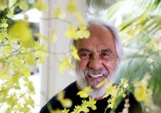 Tommy Chong pose for a picture at his home Tuesday, May 15, 2018 in Los Angeles. About to turn 80, Chong says he never doubted he'd live to see the day when marijuana would be legal in one form or another in 30 states across the country. Now, with his own Chong's Choice line of artisanal pot, Chong prepares to celebrate his 80th birthday this week with a gentle I-told-You-So. (AP Photo/Chris Carlson)