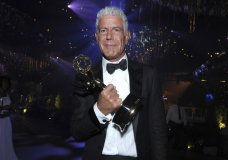 """FILE - In this Sept. 11, 2016 file photo, Anthony Bourdain winner of the award for outstanding informational series or special for """"Anthony Bourdain: Parts Unknown"""" attends the Governors Ball during night two of the Creative Arts Emmy Awards at the Microsoft Theater in Los Angeles. Bourdain has been found dead in his hotel room in France, Friday, June 8, 2018, while working on his CNN series on culinary traditions around the world. (Photo by Richard Shotwell/Invision/AP, File)"""