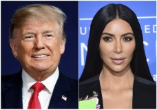 This combination photo shows President Donald Trump at a campaign rally in Moon Township, Pa., on March 10, 2018, left, and Kim Kardashian West at the NBCUniversal Network 2017 Upfront in New York on May 15, 2017. Kardashian West arrived at the White House for a meeting with presidential senior adviser Jared Kushner, the president's son-in-law. She has urged the president to pardon Alice Marie Johnson, who is serving a life sentence without parole for a nonviolent drug offense. (Photo by Evan Agostini/Invision/AP)
