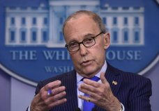 Inn this June 6, 2018, photo, Senior White House economic adviser Larry Kudlow speaks during a briefing at the White House in Washington. (AP Photo/Susan Walsh)