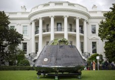 "An Orion crew module, part of NASA's Space Launch System (SLS), is on display on the South Lawn of the White House in Washington at the ""Made in America"", product showcase featuring items created in each of the U.S. 50 states, Monday, July 23, 2018. (AP Photo/Pablo Martinez Monsivais)"