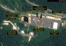 This July 22, 2018, satellite image released and annotated by 38 North on Monday, July 23, shows what the U.S. research group says is the partial dismantling of the rail-mounted transfer structure, at center, at the Sohae launch site in North Korea. 38 North said North Korea has started dismantling key facilities at its main satellite launch site in what appears to be a step toward fulfilling a commitment made by leader Kim Jong Un at his summit with President Donald Trump in June. (Airbus Defense & Space/38 North via AP)