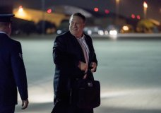 U.S. Secretary of State Mike Pompeo boards his plane at Andrews Air Force Base, Md., Thursday, July 5, 2018, to travel to Anchorage, Alaska on his way to Pyongyang, North Korea. Pompeo begins a trip traveling to North Korea, Japan, Vietnam, Abu Dhabi, and Brussels. (AP Photo/Andrew Harnik, Pool)