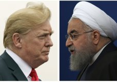 "COMBO - This combination of two pictures shows U.S. President Donald Trump, left, on July 22, 2018, and Iranian President Hassan Rouhani on Feb. 6, 2018. In his latest salvo, Trump tweeted late on Sunday, July 22 that hostile threats from Iran could bring dire consequences. This was after Iranian President Rouhani remarked earlier in the day that ""American must understand well that peace with Iran is the mother of all peace and war with Iran is the mother of all wars."" Trump tweeted: ""NEVER EVER THREATEN THE UNITED STATES AGAIN OR YOU WILL SUFFER CONSEQUENCES THE LIKE OF WHICH FEW THROUGHOUT HISTORY HAVE EVER SUFFERED BEFORE."" (AP Photo)"