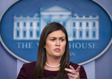 White House press secretary Sarah Huckabee Sanders speaks to the media during the daily press briefing at the White House, Tuesday, Aug. 14, 2018, in Washington. Sanders took questions about former White House staffer Omarosa Manigault Newmanand other topics. (AP Photo/Andrew Harnik)