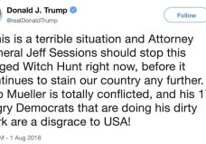 This image from the Twitter account of President Donald Trump shows a tweet on Wednesday, Aug. 1, 2018 calling for Attorney General Jeff Sessions to end the Russia investigation that raises difficult questions about whether Trump's frequent use of Twitter might be used to build a case of obstruction of justice against him. (Twitter via AP)