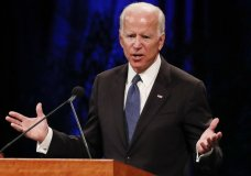 Former Vice President Joe Biden gives a tribute during memorial service at North Phoenix Baptist Church for Sen. John McCain, R-Ariz., on Thursday, Aug. 30, 2018, in Phoenix. (AP Photo/Jae C. Hong)