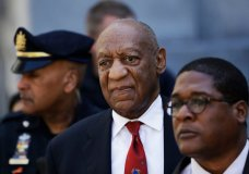 FILE - In this April 26, 2018, file photo, Bill Cosby, center, leaves the the Montgomery County Courthouse in Norristown, Pa. Cosby is due in court Monday, Sept. 24, for a two-day sentencing hearing that follows his conviction on three counts of aggravated indecent assault. (AP Photo/Matt Slocum, File)