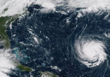 This Sept. 10, 2018, GOES East satellite image provided by NOAA shows Hurricane Florence as it threatens the U.S. East Coast. As mandatory evacuations begin for parts of several East Coast states, millions of Americans have been preparing for what could become one of the most catastrophic hurricanes to hit the Eastern Seaboard in decades. (NOAA via AP)