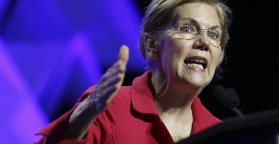 FILE - In this June 1, 2018 file photo, Sen. Elizabeth Warren, D-Mass., speaks at the 2018 Massachusetts Democratic Party Convention in Worcester, Mass. Warren has released results of a DNA test showing Native American ancestry in an effort to diffuse the issue ahead of any presidential run. (AP Photo/Elise Amendola)