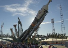 The Soyuz rocket is raised into a vertical position on the launch pad, Tuesday, Oct. 9, 2018 at the Baikonur Cosmodrome in Kazakhstan. The new Soyuz mission to the International Space Station (ISS) is scheduled on Thursday, Oct. 11, with U.S. astronaut Nick Hague and Russian cosmonaut Alexey Ovchinin. (Bill Ingalls/NASA via AP)