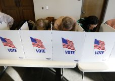 Every voting booth was filled by Madison County voters Tuesday, Nov. 6, 2018, as they filled out their paper ballots in Ridgeland, Miss. Voters have a number of races to consider, including judiciary and federal offices and some local issues. (AP Photo/Rogelio V. Solis)