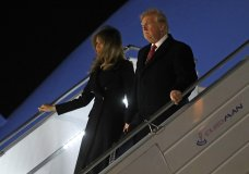 President Donald Trump and first lady Melania Trump alight from Air Force One, after arriving at Orly airport near Paris, Friday, Nov. 9, 2018. Trump is joining other world leaders at centennial commemorations in Paris this weekend to mark the end of World War I. (AP Photo/Jacquelyn Martin)