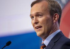 FILE - In this Oct. 15, 2018, file photo, Salt Lake County Mayor Ben McAdams answers a question as he and U.S. Rep. Mia Love participate in a debate in Sandy, Utah, as the two battle for Utah's 4th Congressional District. McAdams declared victory Monday, Nov. 19, 2018, in the tight race, but Love didn't concede and The Associated Press has not called the race. (Scott G Winterton/Deseret News, via AP, Pool, File)