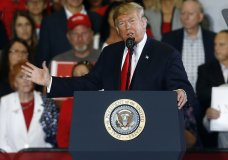 President Donald Trump speaks at a campaign rally, Saturday, Nov. 3, 2018, in Pensacola, Fla. (AP Photo/Butch Dill)