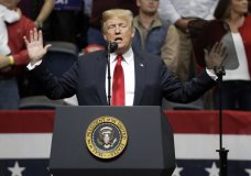 President Donald Trump speaks at a rally Sunday, Nov. 4, 2018, in Chattanooga, Tenn. (AP Photo/Mark Humphrey)
