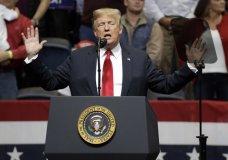 President Donald Trump speaks at a rally Sunday, Nov. 4, 2018, in Chattanooga, Tenn. (AP Photo/Mark Humphrey)