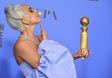 "Lady Gaga poses in the press room with the award for best original song, motion picture for ""Shallow"" from the film ""A Star Is Born"" at the 76th annual Golden Globe Awards at the Beverly Hilton Hotel on Sunday, Jan. 6, 2019, in Beverly Hills, Calif. (Photo by Jordan Strauss/Invision/AP)"