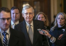 Senate Majority Leader Mitch McConnell, R-Ky., leaves the chamber after speaking about his plan to move a 1,300-page spending measure, which includes $5.7 billion to fund President Donald Trump's proposed wall along the U.S.-Mexico border, the sticking point in the standoff between Trump and Democrats that has led to a partial government shutdown, at the Capitol in Washington, Tuesday, Jan. 22, 2019. (AP Photo/J. Scott Applewhite)