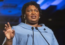 FILE - In this Nov. 6, 2018 file photo, Georgia Democratic gubernatorial candidate Stacey Abrams addresses supporters during an election night watch party in Atlanta. Senate Democratic Leader Charles Schumer says Abrams will deliver the Democratic response to President Donald Trump's State of the Union address. (AP Photo/John Amis, File)