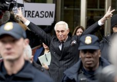 Roger Stone leaves federal court Friday, Feb. 1, 2019, in Washington. Stone appeared for a status conference just three days after he pleaded not guilty to felony charges of witness tampering, obstruction and false statements. (AP Photo/Andrew Harnik)