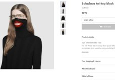 """A screenshot taken on Thursday Feb.7, 2019 from an online fashion outlet showing a Gucci turtleneck black wool balaclava sweater for sale, that they recently pulled from its online and physical stores. Gucci has apologized for the wool sweater that resembled a """"blackface"""" and said the item had been removed from its online and physical stores, the latest case of an Italian fashion house having to apologize for cultural or racial insensitivity. (AP Photo)"""