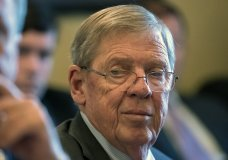 """FILE - In this Feb. 14, 2019 photo, Sen. Johnny Isakson, R-Ga., leads a meeting on Capitol Hill in Washington. Isakson says that he's had enough of President Donald Trump's personal attacks on the late John McCain and that """"the country deserves better."""" Isakson is quoted as telling The Bulwark conservative news and opinion website that """"nothing is more important than the integrity of the country and those who fought and risked their lives for all of us."""" Trump says he was """"never a fan"""" of McCain, who served in the Vietnam War and as an Arizona senator and died last year. (AP Photo/J. Scott Applewhite)"""