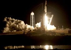 A SpaceX Falcon 9 rocket with a demo Crew Dragon spacecraft on an uncrewed test flight to the International Space Station lifts off from pad 39A at the Kennedy Space Center in Cape Canaveral, Fla., Saturday, March 2, 2019. (AP Photo/John Raoux)