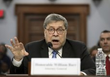 In his first appearance on Capitol Hill since taking office, and amid intense speculation over his review of special counsel Robert Mueller's Russia report, Attorney General William Barr appears before a House Appropriations subcommittee to make his Justice Department budget request, Tuesday, April 9, 2019, in Washington. (AP Photo/Andrew Harnik)