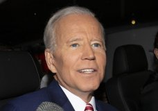 """Former Vice President and Democratic presidential candidate Joe Biden is shown after appearing on ABC's """"The View"""", Friday, April 26, 2019 in New York. Biden says he has no plans to limit himself to one term if he's elected president in 2020. (AP Photo/Eduardo Munoz Alvarez)"""