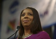 """FILE - In this Sunday, Jan. 6, 2019 file photo, Attorney General of New York, Letitia James, speaks during an inauguration ceremony in New York. New York state's attorney general has begun an investigation into the National Rifle Association. A spokeswoman for Attorney General Letitia James said Saturday, April, 27, 2019 that James' office has issued subpoenas as part of an investigation related to the NRA. William A. Brewer, the NRA's outside lawyer, said the NRA """"will fully cooperate with any inquiry into its finances."""" James, a Democrat, vowed during her campaign last year to investigate the NRA's not-for-profit status if elected. (AP Photo/Seth Wenig, File)"""