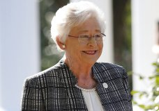 FILE - In this Friday, Nov. 17, 2017 file photo, Alabama Gov. Kay Ivey speaks to the media in Montgomery, Ala. Alabama lawmakers have passed a near total ban on abortion. The state Senate on Tuesday, May 14, 2019, passed the bill that would make performing an abortion at any stage of pregnancy a felony. The bill now goes to Gov. Ivey, who will decide whether to sign the legislation into law. (AP Photo/Brynn Anderson, File)