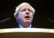 FILE - In this Tuesday, Oct. 2, 2018 file photo, British Conservative Party Member of Parliament Boris Johnson speaks at a fringe event during the Conservative Party annual conference at the International Convention Centre, in Birmingham, England. Prime Minister Theresa May's announcement that she will leave 10 Downing Street has set off a fierce competition to succeed her as Conservative Party leader _ and as the next prime minister. (AP Photo/Rui Vieira, File)